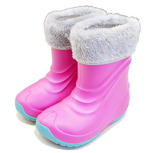 [ベアーフット] キッズ ジュニア ウインターブーツ EVA軽量 防寒 スノーシューズ ボーイズ ガールズ FB-40J ピンク JS(17-18cm)(18 cm)