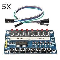 Prament 5ピース TM1638 チップキー表示モジュール8ビットデジタル LED チューブ AVR Arduino