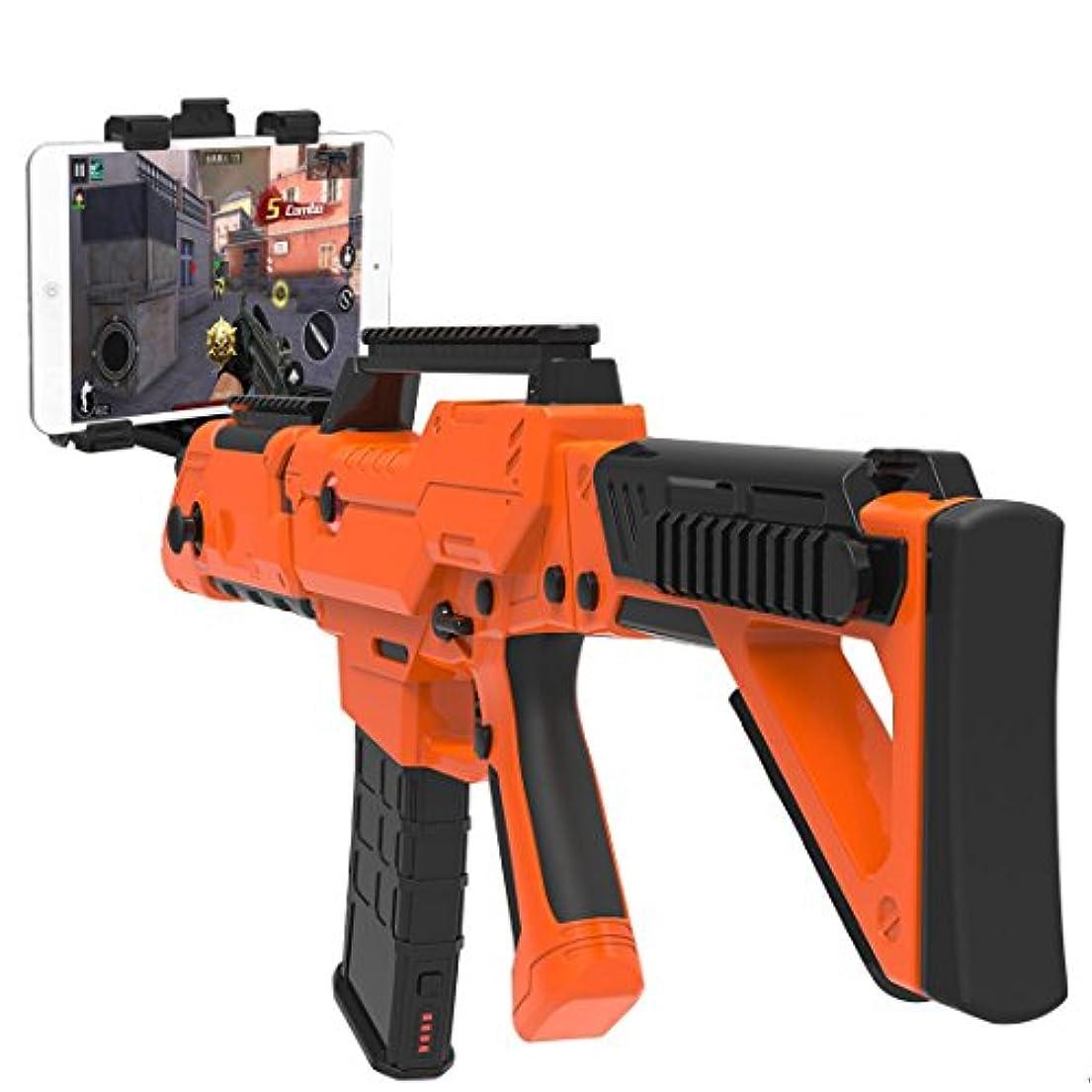 底持ってる日常的にBluetoothガンFPSゲームを向きた射撃のコントローラーVRとtabletとスマホを対応(オレンジ)