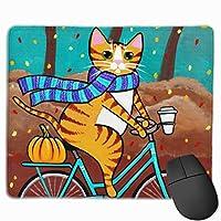 森の中の自転車猫 マウスパッド ノンスリップ 防水 高級感 習慣 パターン印刷 ゲーミング ホビー 事務 おしゃれ 学習
