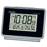 セイコー クロック 目覚まし時計 電波 デジタル 2チャンネル アラーム カレンダー 温度 湿度 表示 黒 SQ767K SEIKO