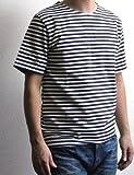 ロシア軍 ボーダー バスクシャツ 半袖 / ミリタリー デッドストック Tシャツ (50S(メンズS), ブルー) [ウェア&シューズ]