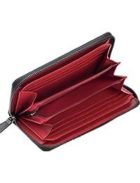 [グレース] イタリアンカーボンレザー 内装外装 本革 長財布 4カラー ラウンドファスナー 大容量 高級 本格志向