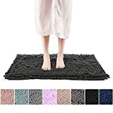 """Freshmint Chenille Bath Rugs Extra Soft Fluffy and Absorbent Microfiber Shag Rug, Non-Slip Runner Carpet for Tub Bathroom Shower Mat, Machine-Washable Durable Thick Area Rugs (16.5"""" x 24"""", Black)"""