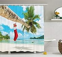 クリスマス&新年おめでとう シャワーカーテン バスカーテン 防カビ おしゃれ 165x180cm