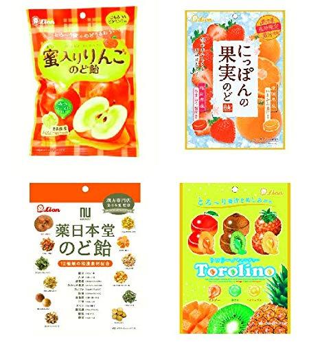 のど飴セット にっぽんの果実のど飴(あまおうといよかん) 蜜入りりんごのど飴 トロリーノキャンディー 薬日本堂のど飴 4袋セット