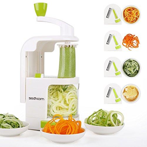 野菜スライサー Sedhoom きゅうり 千切り 回転式 4種類花形切り 収納便利 アップデート版