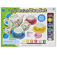 Paint Your Own Tea Set, Decorate Your Own 11 Piece Set of Porcelain Dishes, Includes Six Paint Pots and Paint Brush