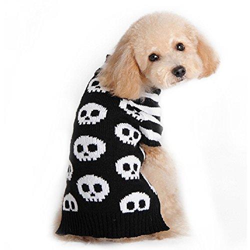 Liebeye 黒い白のストライプのスケルトンペットの犬の猫の子犬の服ハロウィーンのセーターの衣装ニット L Black