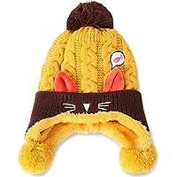 (プタス)Putars 子供用 帽子 ニット帽 猫柄 耳あて付き ポンポン 男の子 五色 耳保護 防寒 防風 暖かい 冬 可愛い 新生児 記念日 プレゼント