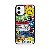 Dparks iPhone 12 mini ケース ステッカー [ ハイブリッド 耐衝撃 Qi充電 ワイヤレス充電 アイフォン 12 ミニ カバー ] BLACK COVER TAG STICKER CAUTION DS19777i12【日本正規代理店品】