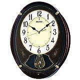 セイコー クロック 掛け時計 電波 アナログ 6曲 メロディ 飾り振り子 茶 メタリック AM248B SEIKO