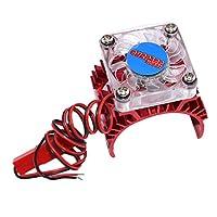 Fityle アルミ合金 モーター ヒートシンク 冷却ファン付き 1:10 RCカー/トラック540 3650 3660モーター用 全2色 - 赤