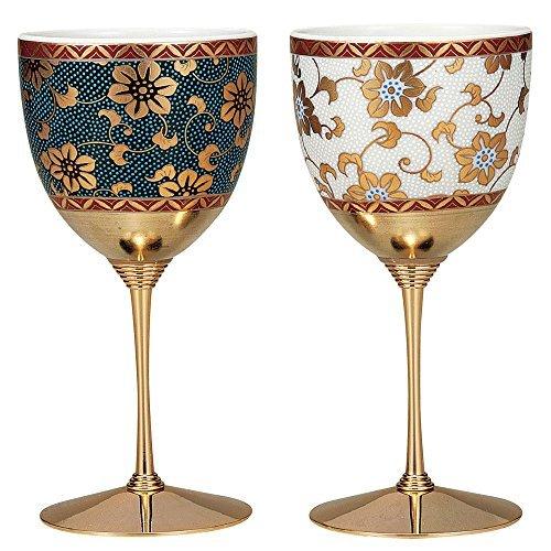 九谷焼 陶器の ペア ワイングラス 鉄仙文