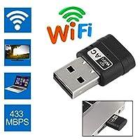 Heitaisi USB WiFiアダプター 2.4G/5G ワイヤレスWiFiアダプター 600M WiFi 2.4Ghz+5Ghz デュアルバンド 802.11AC USB ネットワークカード