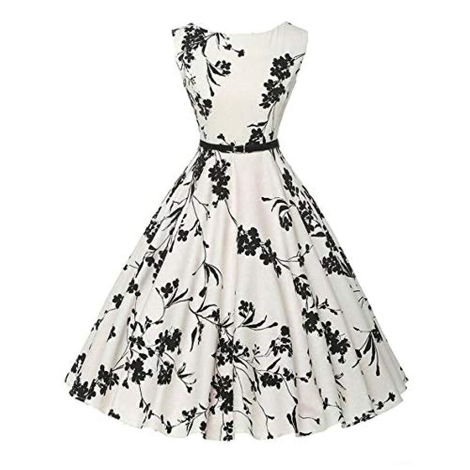 ギネス偏心に同意するBlackfell 女性のドレス花柄ノースリーブワンピーススリムビッグスイングドレスレザーベルト付き