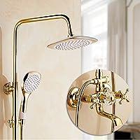 LJ ヨーロッパスタイルの金メッキシャワーセットフル銅の蛇口レトロハンドシャワートップスプレー (サイズ さいず : B)