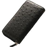 オーストリッチ フルポイント 長財布 ラウンドファスナー : ブラック
