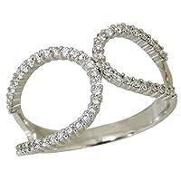 真珠の杜 真珠の杜 ダイヤモンド PT900プラチナ ダブルループ型 リング レディース 8.5号