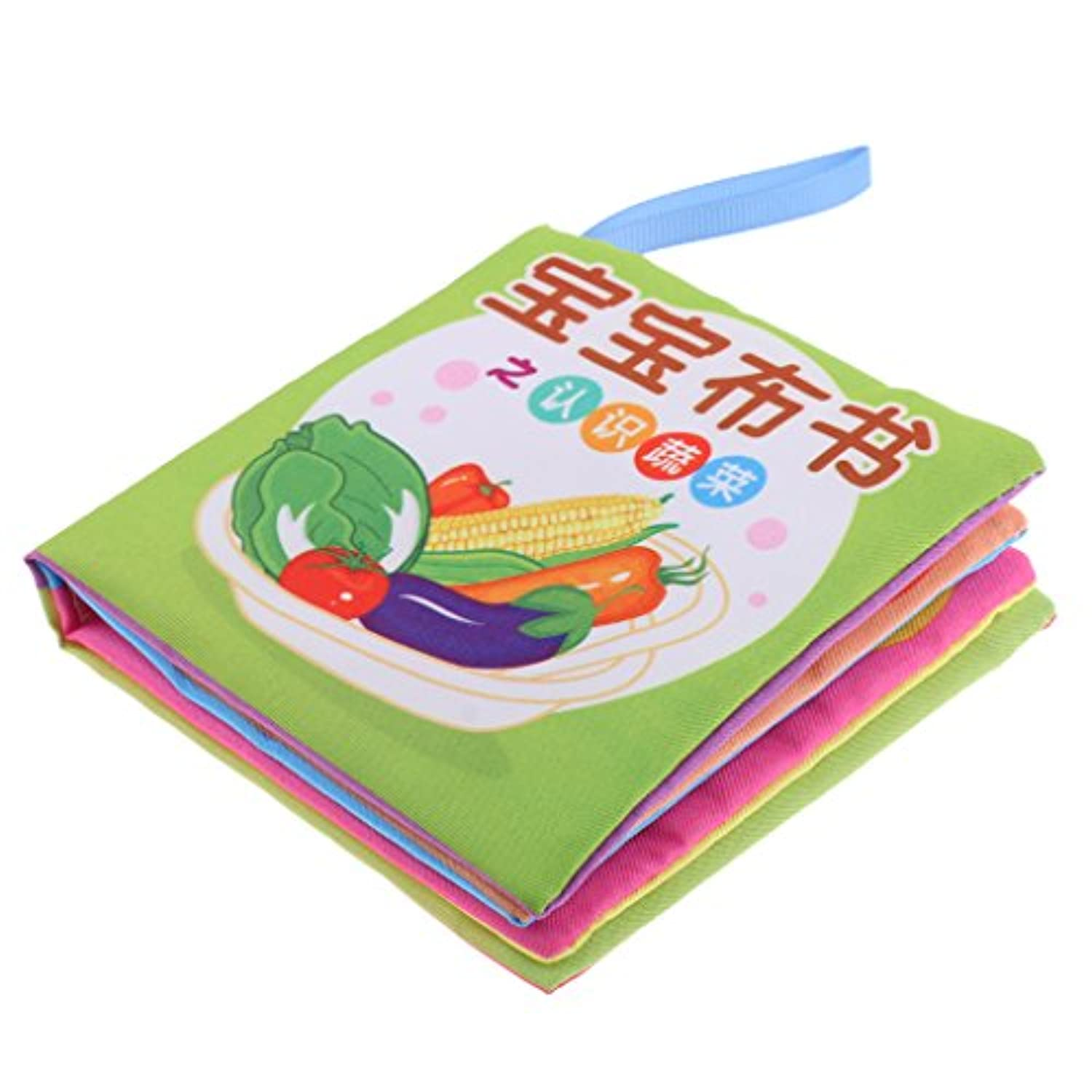 MonkeyJack 8 Pages Soft Cloth Cognize Durable Book Chinese English Colours Shapes Educational Toys for Baby Kids Development Vegetables
