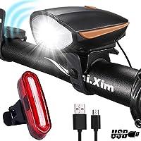 Kimmy スピーカー自転車ライト前後セットホーン防水USB充電自転車ヘッドライトスーパーブライトLED自転車アクセサリー オレンジ