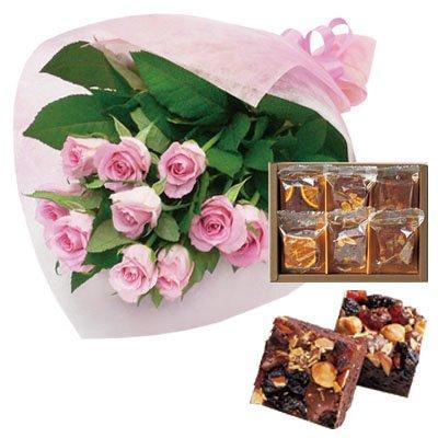 誕生日 お祝い の 花 お 花 と スイーツ おしゃれ ギフト セット エレガント ピンク バラ 花束 と 木の実と果物のチョコレートケーキ 6個 洋菓子 メッセージカード 還暦祝い 結婚祝い 古希 喜寿 人気 プレゼント ランキング ギフト 女性 母 親