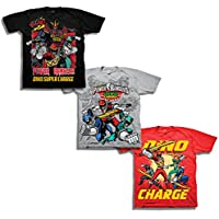 Power Rangers Boys' Little Boys' Super Dino Charge 3 Pack T-Shirt Bundle, Black/Silver/Royal, L-7