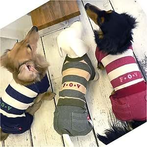 ラブ+ラブしまつなぎ(小型犬用、サイズ:NSS、カラー:3/アカ) 61-10901-N