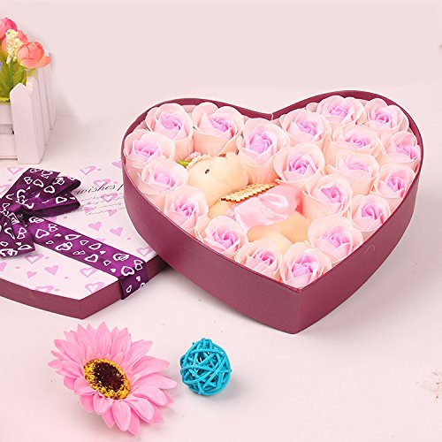 薔薇 石鹸 プレゼント クマ お誕生日祝い ロマンチック お祝・お見舞い 手洗う クリスマス ギフト 母の日 父の日 昇進祝い 開所祝い 発表会 お歳暮 ハートギフトボックス Menshow(メンズショウ) taoxinhua-fen