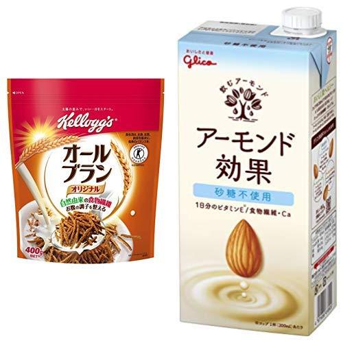 【セット買い】[トクホ] ケロッグ オールブラン 徳用袋 400g×6袋 + グリコ アーモンド効果 砂糖不使用 1000ml×6本 常温保存可能