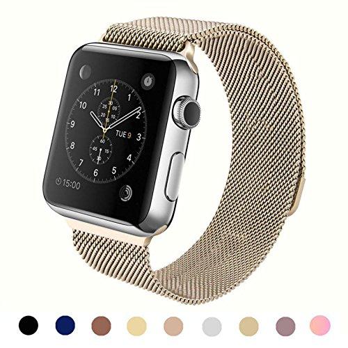 (ウィーティイエス)Vteyes Apple Watch アップルウォッチケース用 ミラネーゼループ Apple Watchの各モデル交換可能 ステンレススチール製 完全なマグネット式腕時計バンド 無限に調節可能 42mmケース用 ビンテージ-ゴールド