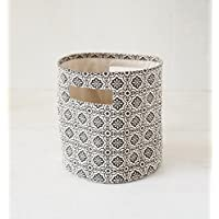 Canvas basket, tile print, black and white, storage basket, fabric bin, sizes available (12x14)