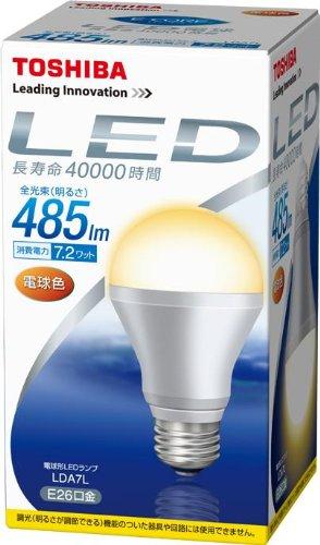 TOSHIBA E-CORE LED電球 一般電球形7.2W 電球色 LDA7L