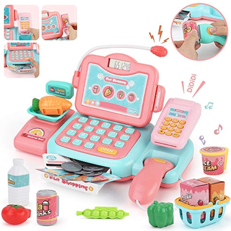 JoyGrow レジスターおもちゃ 英語版 スキャンでおしゃべり マジカル ショッピング マート お買い物 おもちゃ 女の子 男の子 (ピンク) Cash Register For Kids