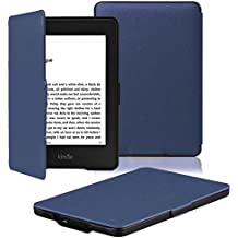 Amazon Kindle Paperwhite Case is the lightest and most advanced leather smart case for all versions before 2017 (not for all Paperwhite 10th generation 2018), Kindle with purple wake/sleep function (Blue)