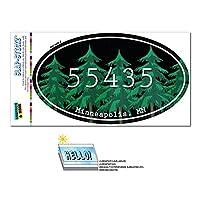 55435 ミネアポリス, MN - 森林 - 楕円形郵便番号ステッカー