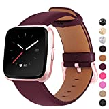 Mosstek Genuine Leather Bands Compatible with Fitbit Versa 2 & Versa 1 & Versa Lite & Versa Special, Genuine Leather Band Replacement Strap for Versa Women Men - Burgundy