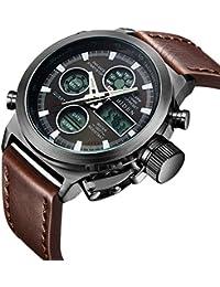 時計、メンズ腕時計デジタルアナログスポーツファッションウォッチ、多機能LED日付アラームレザー防水腕時計 (ブラウン)