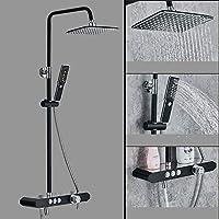 壁掛けシャワーシステム、2モードハンドシャワー付き、降雨量シャワーヘッド、節水型現代真鍮ボディクロームレインシャワーセット,C
