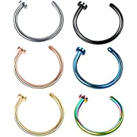 Mix Color Stainless Steel Body Jewelry Piercing Earrings Nose Hoop Ring Unisex 18Gauge 20Gauge 6mm/8mm/10mm
