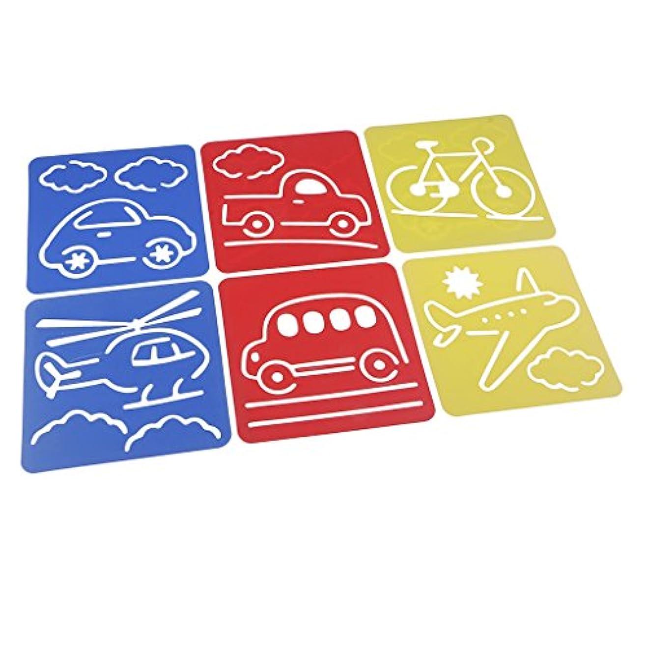 中央値息を切らしてデザート絵画ステンシル 図面テンプレート 親子交流 知育玩具 興味の育成  教育用  絵画学習  図面装飾 6個入り