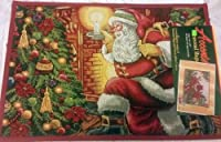 The Pecan Man SANTA BY THE CHRISTMAS TREE, PRINTED KITCHEN RUG (滑り止め), 1点 19 x 27インチ