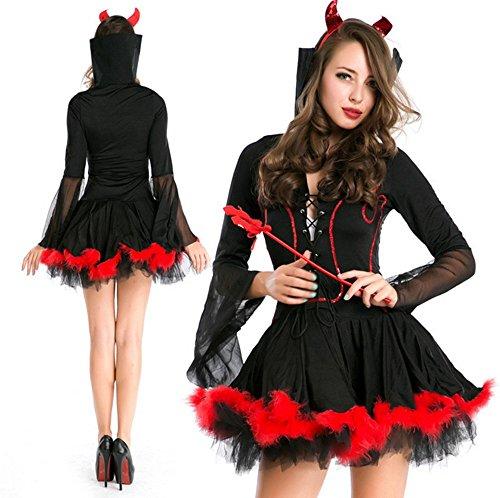 魔女 コスプレ ハロウィン 悪魔 巫女 女王 バンパイア 吸血鬼 コスチューム 衣装 仮装 大人 変装 パーティーグッズ 黒X赤 フリーサイズ