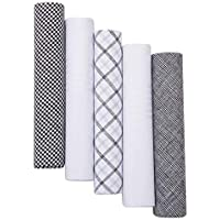 Pierre Cardin Designer Fashion Handkerchiefs for Men-5 Pack Gift Sets in Solid Colors and Patterns 100% Pure Cotton (16 x 16 5 Pack Assorted Patterns 4)
