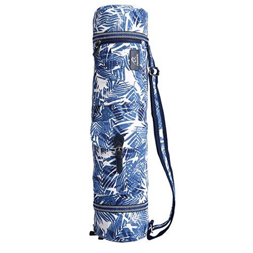 FODOKO ヨガマットバッグ ヨガバッグ キャリーケース 高品質キャンバスで作られた (楓葉-ブルー)