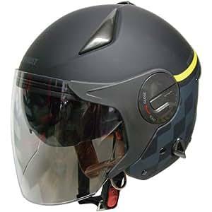 FS-JAPAN 【石野商会】 ルノー Wシールドジェットヘルメット マットブラック/マットグレー RN-999W