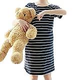(マーシェル) Marshel 妊婦 マタニティ パジャマ ルームウェア 授乳口付き コットン 服を着たまま簡単授乳 お洒落 妊婦 ボーダー ネイビー XL