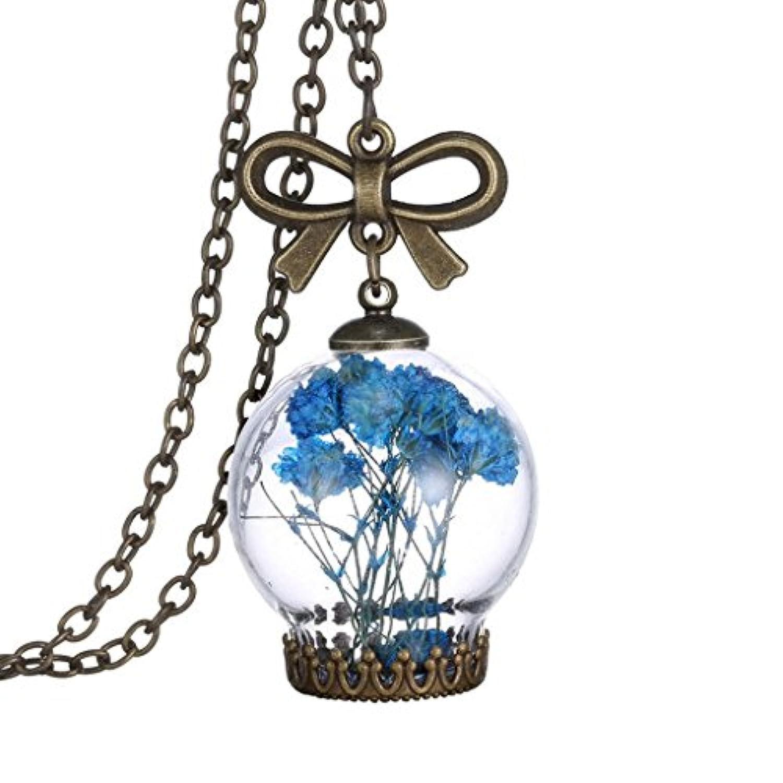 【ノーブランド品】ガラスボトル ペンダント ネックレス 青い花