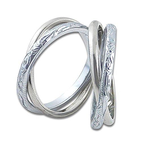 ハワイアンジュエリー ハワイアン ペアリング 指輪 ステンレス サージカルステンレス 2連リング スクロール