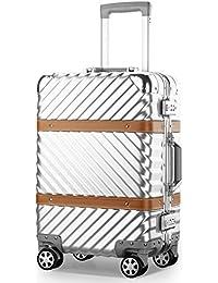 (アザブロ) AZBRO 旅行用 スーツケース キャリーケース TSAロック 半鏡面仕上げ アライン加工 アルミフレーム レトロ 旅行 出張 軽量 静音 ファスナーレス 保護カバー付き